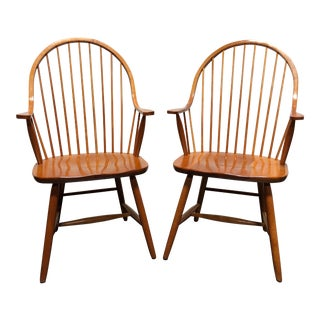 Solid Cherry Windsor Dining Captain's Arm Chairs Handmade by Robert Bergelin - Pair 1 For Sale