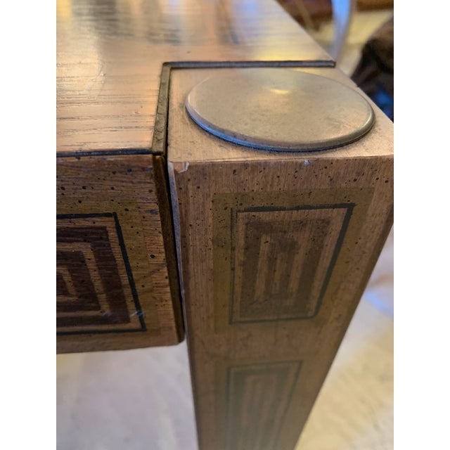 1960s Inlaid Wood Rectangular End Table With Geometric Decoration For Sale - Image 5 of 13