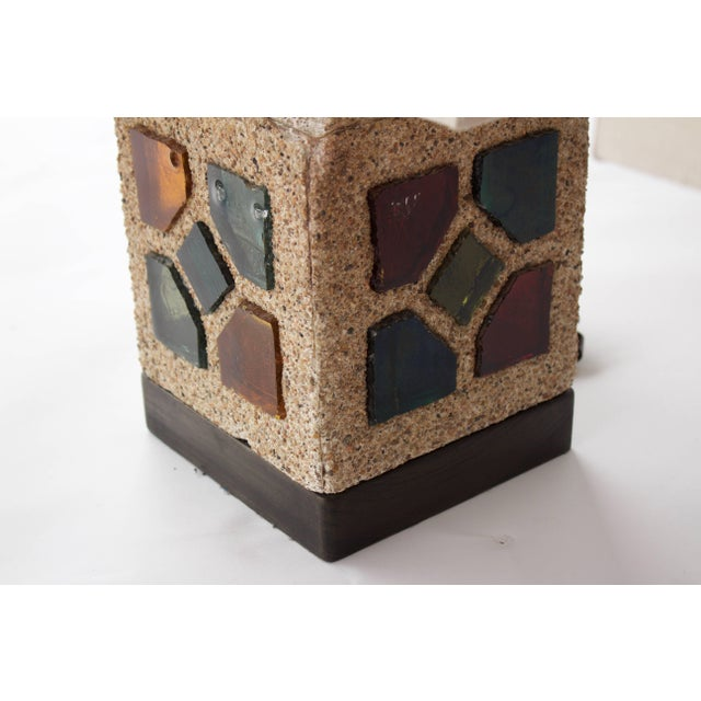 Mid-Century Modern French 1950s Cement and Colored Glass Table Lamps For Sale - Image 3 of 11