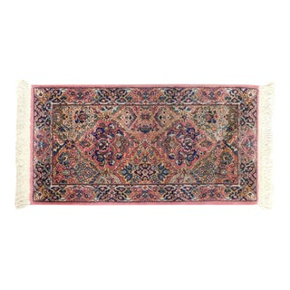 Karastan Kirman Fringed Rug #717 4' x 2' Salmon Pink Background Area Throw Rug For Sale