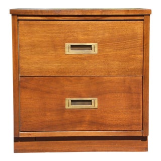 Vintage Mid Century Modern Campaign Style Nightstand Bedside Table End Table For Sale