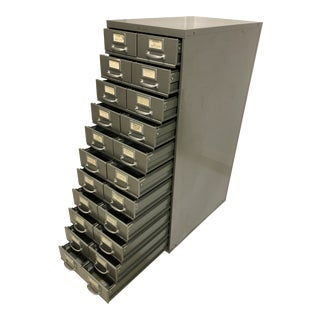 Vintage Industrial 22 Drawer Steel File Cabinet by Shaw Walker For Sale