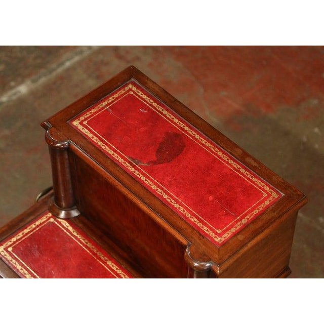 Late 19th Century 19th Century English Mahogany and Red Leather Library Step Ladder With Storage For Sale - Image 5 of 9