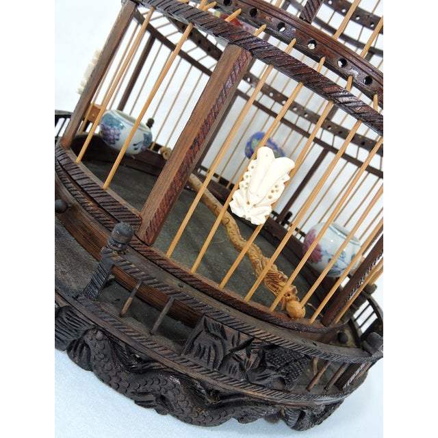 Vintage Chinese Bamboo Bird Cage With Porcelain Bowls, Cicadas & Dragon Decorations For Sale In Tampa - Image 6 of 10