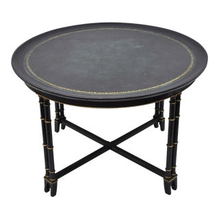 20th Century Regency Green Leather Top Black & Gold Bamboo Round Coffee Table For Sale