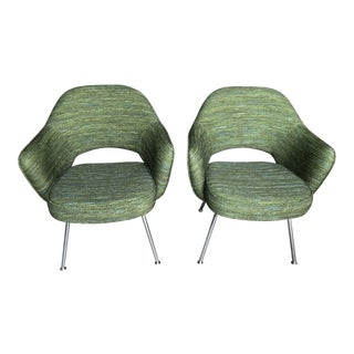 Green Saarinen for Knoll Executive Armchairs - A Pair