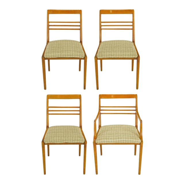 Four Renzo Rutili Walnut & Upholstered Dining Chairs For Sale