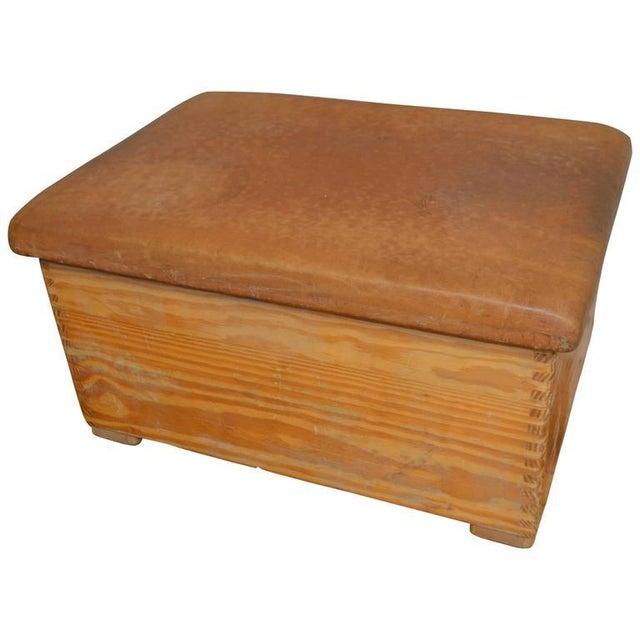 Vintage German Gymnast Leather Top Bench For Sale - Image 9 of 9