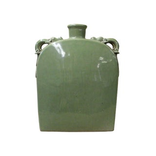 Chinese Ceramic Crackle Pattern Celdaon Green Square Jar For Sale