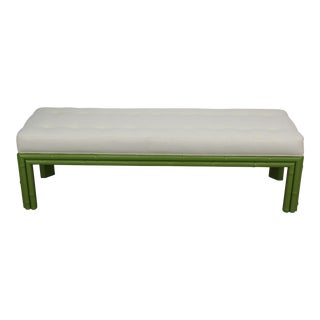 Mid-Century Apple Green Faux Bamboo Bench For Sale