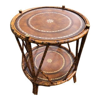 1990s Boho Chic Bamboo and Leather Side Table For Sale