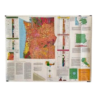 1970s Vintage Geologic Map Pacific Northwest Oregon and Washington For Sale