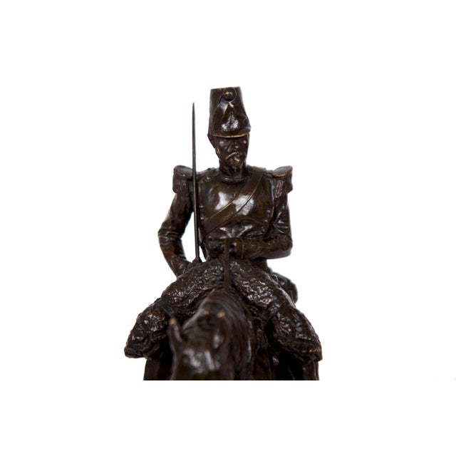 Early 20th Century Antique French Bronze Sculpture of a Soldier on Horseback by Emmanuel Fremiet For Sale - Image 5 of 13