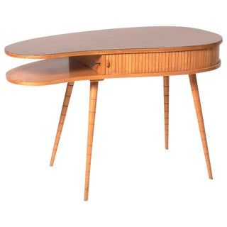 Light 1950s Ladies Desk or Vanity With Tambour Door Attributed to Eduard Ludwig For Sale