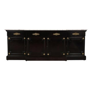 Traditional Regency-Style Black Lacquer Marble Top Buffet For Sale