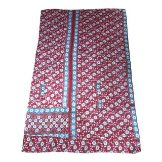 Indian Red and Blue Floral Kantha For Sale