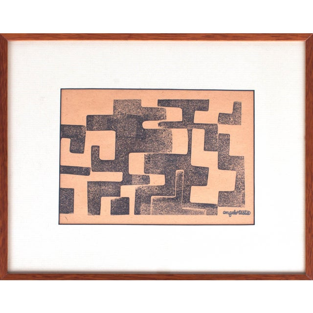 Angelo Testa (1921–1984) A pair of signed geometric prints by preeminent textile designer Angelo Testa, a disciple of...