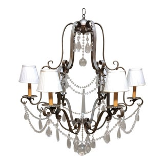 Six Lights Chandelier With Ivory Pleated Shades and Obelisk Center For Sale