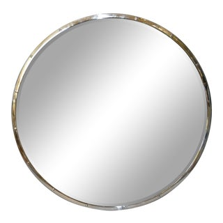 Design Institute of America 'Dia' Mid-Century Modern Round Beveled Chrome Mirror For Sale