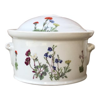 "Vintage French Porcelain ""La Faune"" Lourioux Lidded Casserole Dish With Floral Herb Motif For Sale"