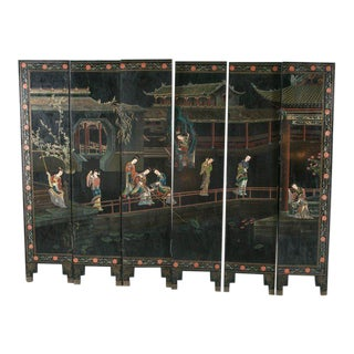 1930s Chinese Lacquered Six-Panel Screen For Sale