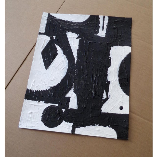 Original abstract black and white contemporary painting titled 'Motovi'. This painting was created in 2019 with acrylic on...