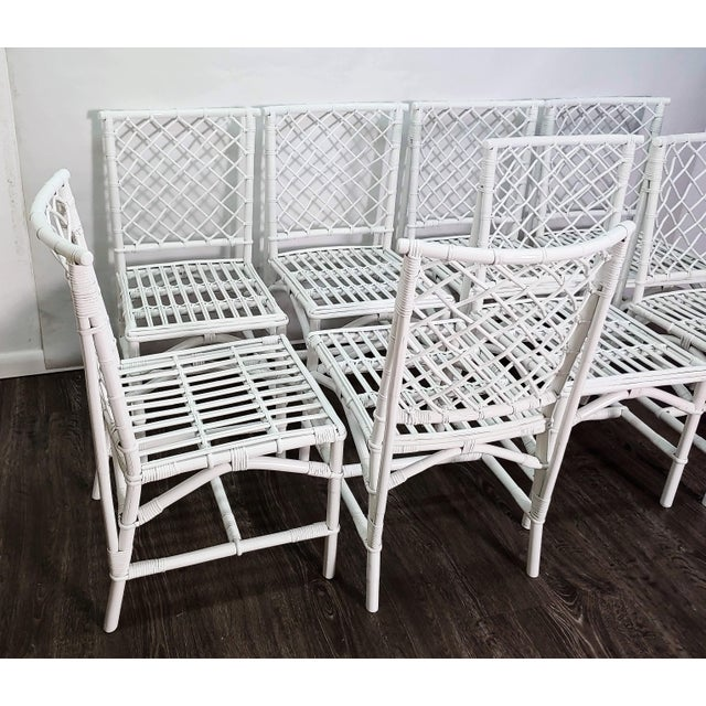 Ficks Reed Ficks Reed Diamond Patterned Rattan Chairs - Set of 8 For Sale - Image 4 of 6