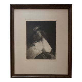 1961 Portrait Sketch of a Woman Framed For Sale