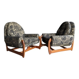 Adrian Pearsall Style Lounge Chairs on Carved Teak Frames - A Pair For Sale
