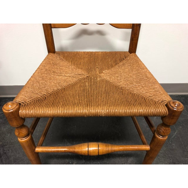 Camel Ethan Allen Ladder Back Rush Seat Dining Side Chairs - Pair 1 For Sale - Image 8 of 10