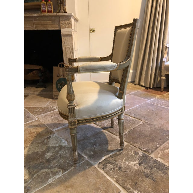 French Painted and Gilt Napoleon III Fauteuils - Set of 4 For Sale - Image 3 of 13