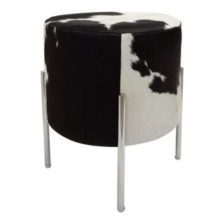 Stainless Steel Leg Black and White Cowhide Stool For Sale