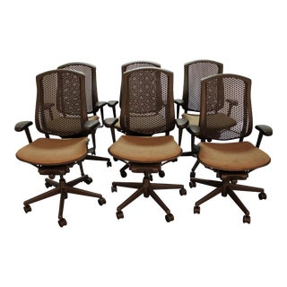 Set of 6 Modern Herman Miller Celle Adjustable Swivel Conference/Office Chairs