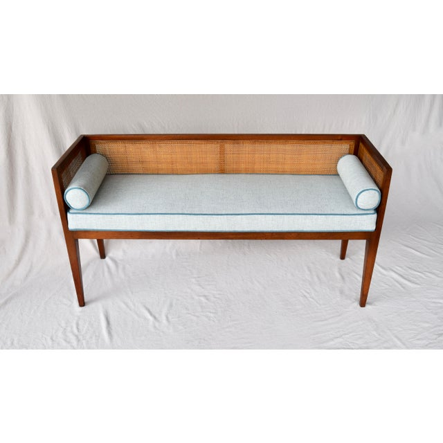 Solid walnut Mid-Century Modern window bench or settee attributed to Edward Wormley for Dunbar. Lithe line design...
