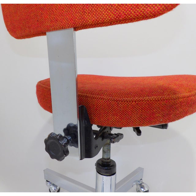Mid Century Modern Interroyal Orange Wool Office Chair For Sale - Image 12 of 13