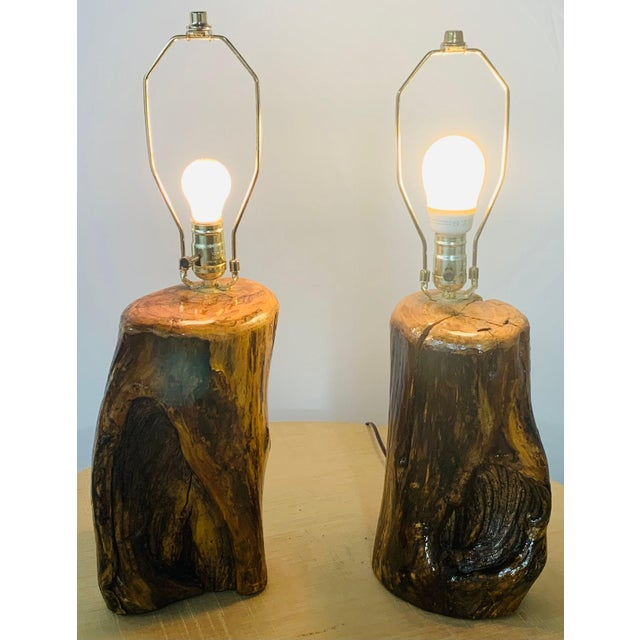 Organic Modern Design Maple Wood Table Lamps, a Pair For Sale - Image 4 of 13