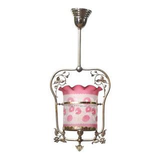 Nickel Victorian Harp Lantern With Original Floral Pink Glass