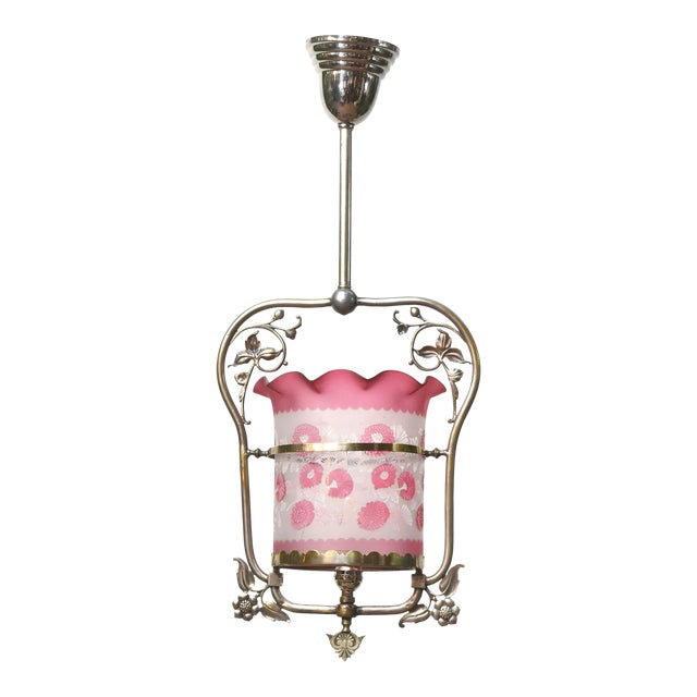 Nickel Victorian Harp Lantern with Original Floral Pink Glass For Sale