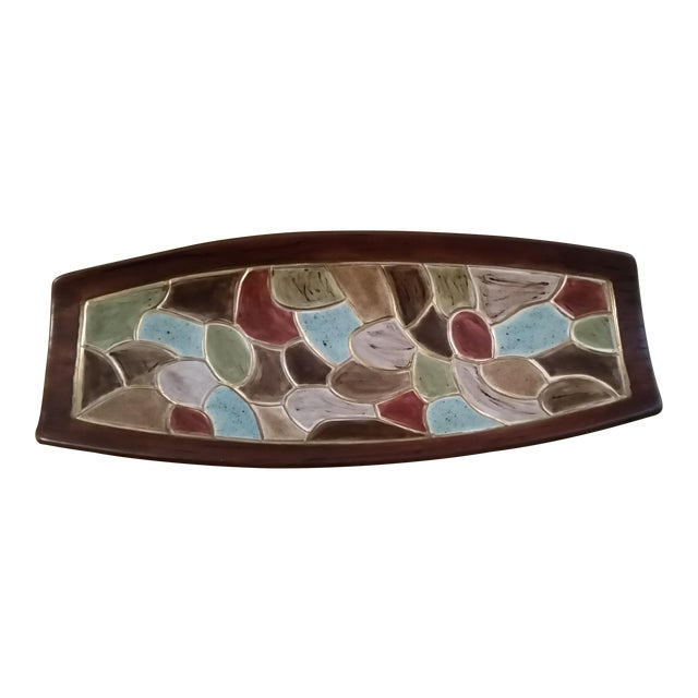 1968 Studio Pottery Footed Serving Dish For Sale