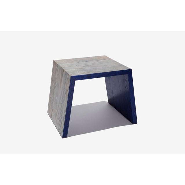DuBois Collection Blue Hand Dyed Ash Stool or Side Table by DuBois Collection For Sale - Image 4 of 4