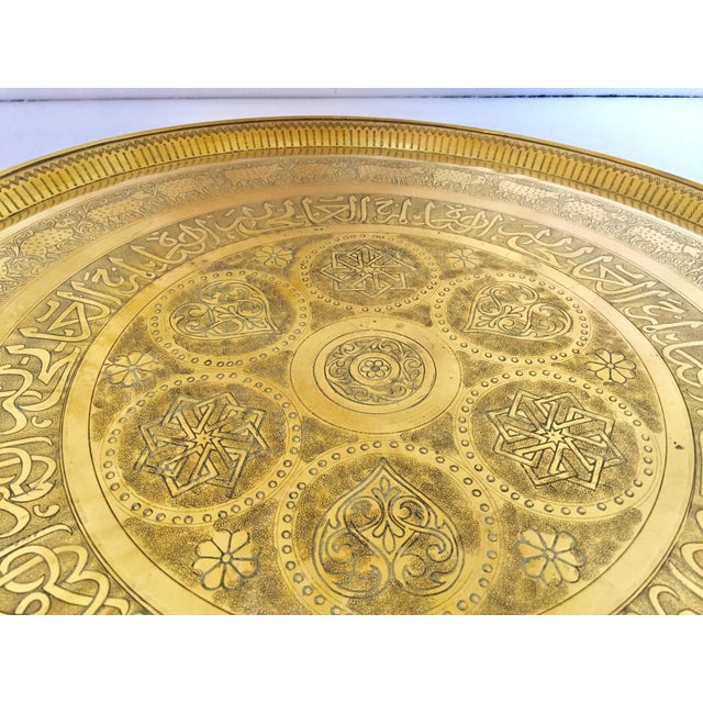 Early 20th Century Indo-Persian Handcrafted Decorative Hammered Brass Tray For Sale - Image 5 of 13