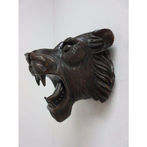 Hand Carved Mahogany Lion Tiger Head Wall Mount - Image 6 of 8
