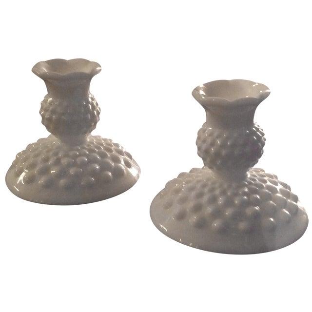 Fenton Hobnail Milk Glass Candlesticks - A Pair - Image 1 of 5