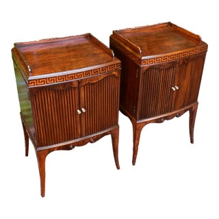 French Mahogany Greek Key Inlay Nightstands-A Pair For Sale