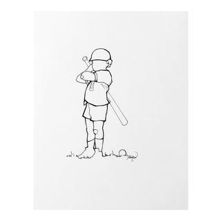 Little Slugger Drawing on Linen For Sale
