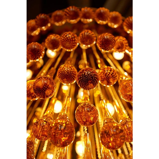 Monumental Brass and Murano Glass Tear Drop Flush Mount Attr. To Barovier & Toso For Sale - Image 11 of 13