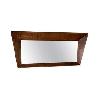 Vintage Mid Century Wood Unusual Framed Mirror For Sale
