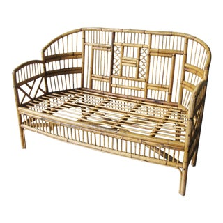 Mid-Century Brighton Pavillion Style Rattan Loveseat For Sale