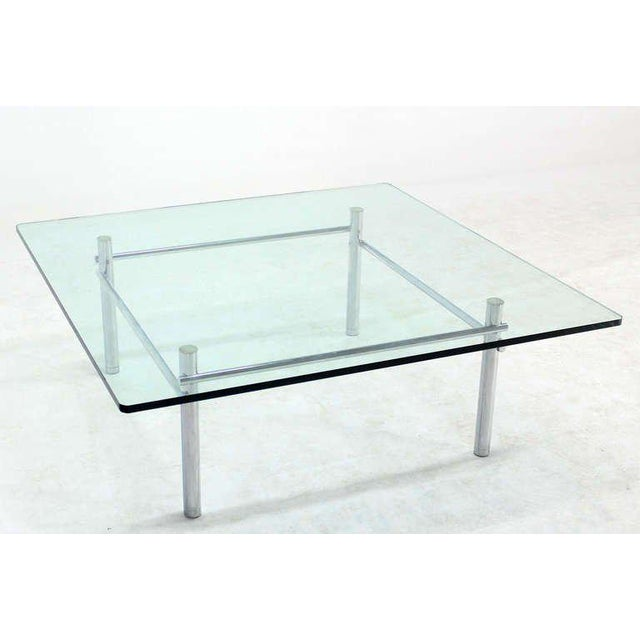 Lovely Solid Chrome Base With Heavy Steel Bars And Square GlassTop - Chrome base glass top coffee table