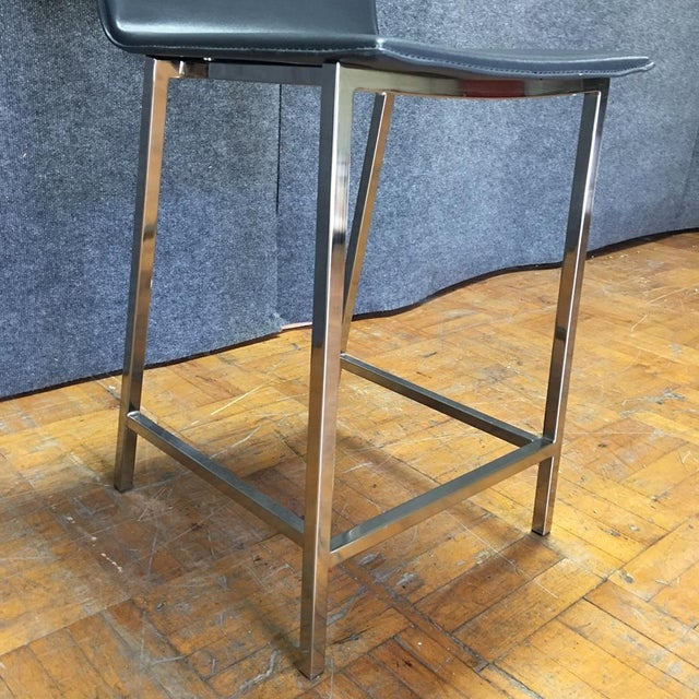 Cb2 Phoenix Navy Blue Counter Stools - Pair For Sale In Los Angeles - Image 6 of 9